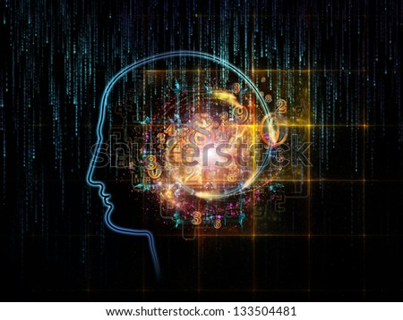 Artistic background made of outlines of human head, technological and fractal elements for use with projects on artificial intelligence, computer science and future technologies