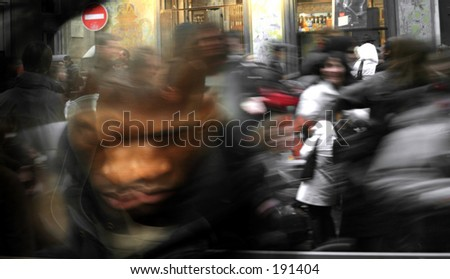 Artistic blur of a crowd running on the street of Paris