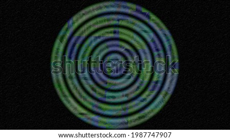 Artistic circles of different sizes arranged inside each other from large to small in a way that creates an abstract geometric look of 3D illustration target shooting against a dramatic background ストックフォト ©