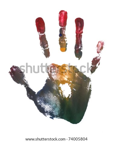 artistic colorful adult hand print