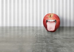 Artistic creation of a red apple with an opened human mouth that sticking out his toungue