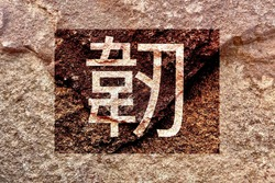 Artistic design of bright traditional Chinese character style isolated on weathered rock wall background, which means strong, solid, tough and tenacious, creative strength concept texture wallpaper