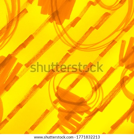 Artistic Dirty Painting. Yellow Fire Color Watercolor Painting. Summer Sun Warm Stripes Dirty Modern Artwork. Mustard Pumpkin Childrens Art. Scribble Design. Sunny Orange Lines