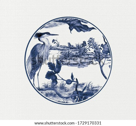 Artistic expression of Oriental culture, blue and white porcelain pattern, porcelain design, suitable for textile and clothing design