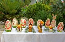 Artistic fruit carvings