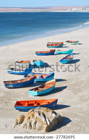 Artistic group of boats on shore. Shot near Langebaan/Vredenburg, Western Cape, South Africa.