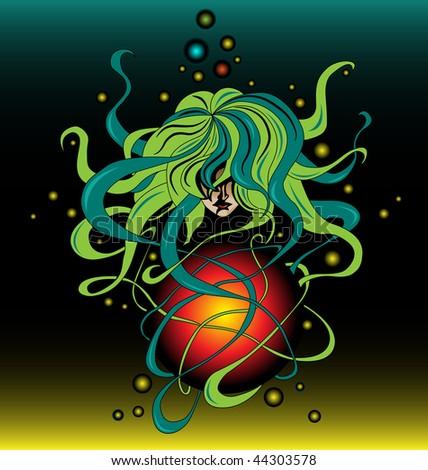 Artistic illustration of a fantastic submarine universe