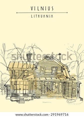 Artistic illustration of an old house in Vilnius, Lithuania, Europe. Isolated freehand drawing. Travel sketch. Greeting card template. Postcard design with hand lettered title and space for text
