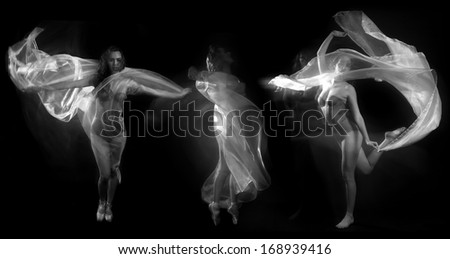 Stock Photo Artistic Image of Movement With Sheer Fabric and Long Exposure