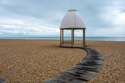 Artistic installation on the beach in the artsy town of Folkestone, Kent, UK