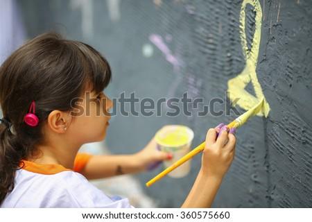 Artistic kid painting mural