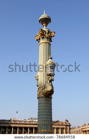Artistic lamppost in the Place de la Concorde, Paris