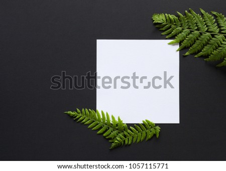 Artistic mockup for your artwork with beautiful flowers and leaves and empty card shot from the top. Flat lay minimalistic composition. #1057115771