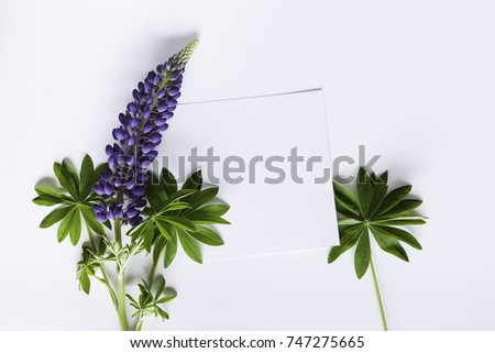 Artistic mockup for your artwork with beautiful flowers and leaves and empty card shot from the top. Flat lay minimalistic composition. #747275665