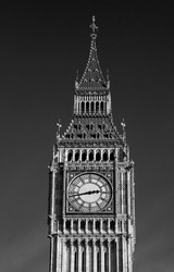 Artistic, monochrome, high-contrast, infra-red style image of Big Ben, at Houses of Parliament, London, England, Great Britain, United Kingdom  Nobody