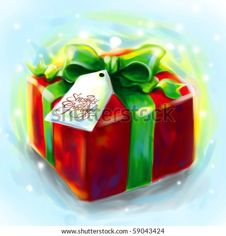 Artistic Painting of Christmas Gift - stock photo