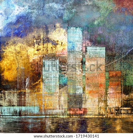 Artistic painting of skyscrapers. Abstract style. Cityscape panorama. Digital art style, illustration painting