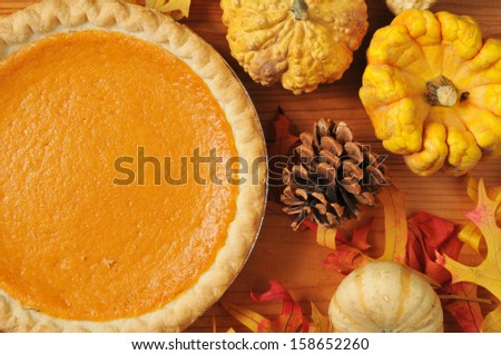 Artistic photo of sweet potato pie, or pumpkin pie with autumn leaves and colorful gourds