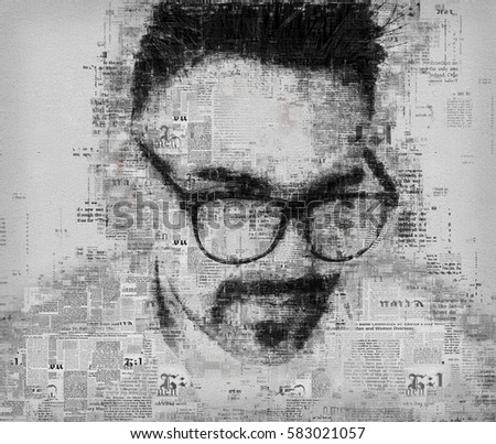 Artistic portrait of a business man blended with old newspaper pages background