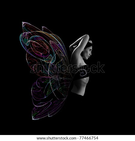 Artistic portrait of young woman with butterfly wings made of colored light. isolated on black.