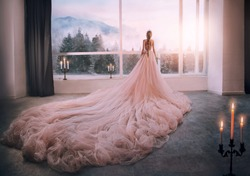 Artistic processing Fantasy girl princess in pink dress stands in medieval room looking vintage window with winter nature landscape mountains sunset. silhouette woman queen long train skirt. Back view