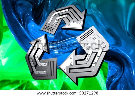 Artistic recycling symbol over abstract green blue background Conceptual 3D illustration
