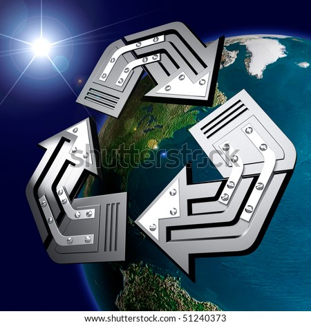 Artistic recycling symbol over Earth globe Conceptual 3D illustration Environment and ecology Solar energy concept