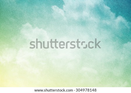 artistic soft cloud and sky with grunge paper texture #304978148