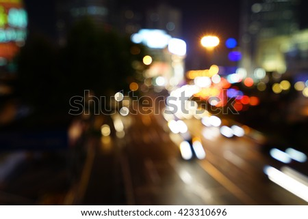 Artistic style - Vintage style, Defocused urban abstract texture bokeh city lights & traffic jams in the background with blurring lights. #423310696