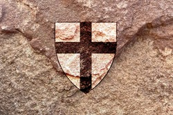 Artistic Teutonic Order cross icon isolated on weathered solid rock wall background, symbol of the Order of Brothers of the German House of Saint Mary in Jerusalem, culture, history and religion