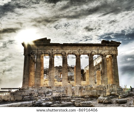 artistic view of Parthenon, Acropolis ,Athens,Greece