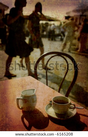 Artistic work of my own in retro style - Postcard from Italy. - Espresso Venice.