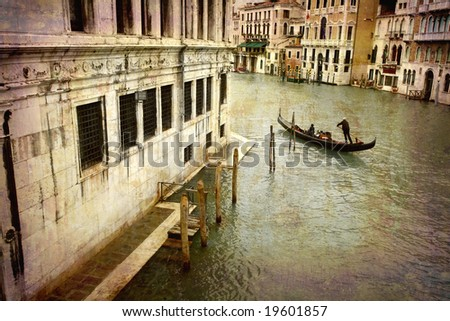 Artistic work of my own in retro style - Postcard from Italy. - Gondola Grand Canal - Venice.