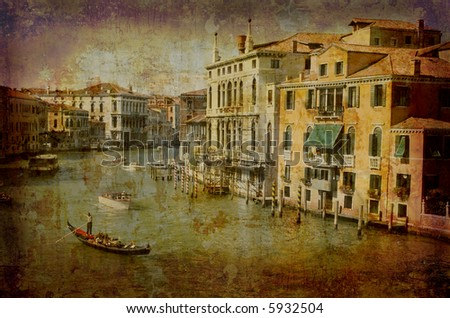 Artistic work of my own in retro style - Postcard from Italy. - Traffic Grand Canal - Venice.
