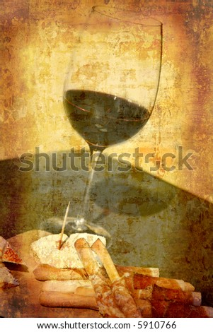 Artistic work of my own in retro style - Postcard from Italy. - Wine tasting - stock photo