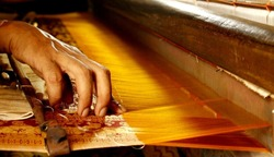 Artists Artisans Handicrafts Handmade Manufacturing Unit Cotton Silk Hand loom India Indian Village Designs Thread Work Colorful Yellow Golden Culture Cultural