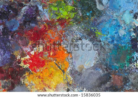 Artists oil paints multi colored close up semi abstract