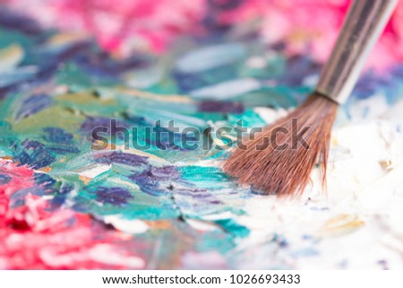 Artists oil paints multicolored closeup abstract background #1026693433