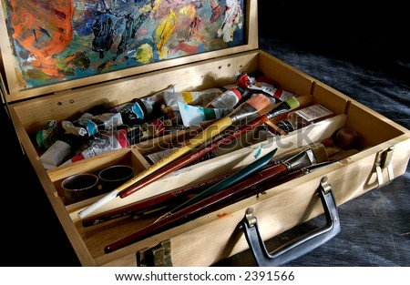 Artists Paint kit with easel and brushes