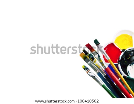 Artists paint palette isolated on white with clipping path