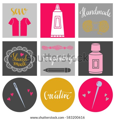 Arts and crafts hand drawn supplies, tools, design elements, icons, cards set isolated on white background