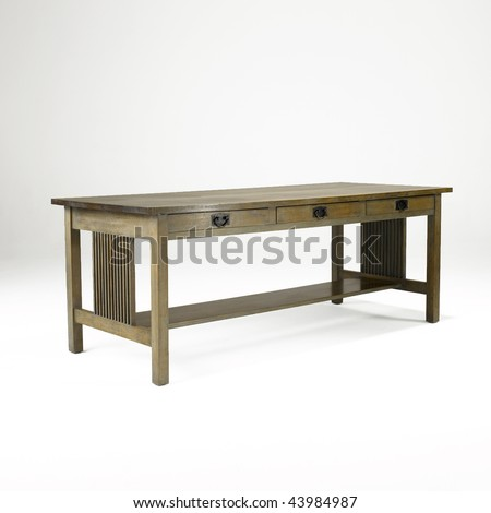 arts and crafts oak library table - stock photo