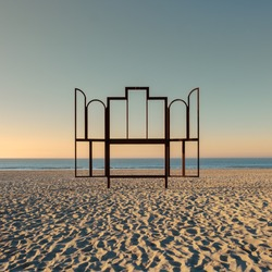 Artwork 'Altar' on the beach of Oostende, Belgium. This frame is modeled after the famous painting
