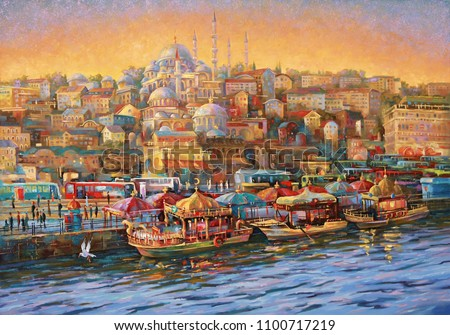 Artwork. Evening in Istanbul. Golden Horn Bay. Author: Nikolay Sivenkov.