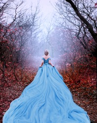 Artwork photo Beautiful silhouette woman princess Cinderella in autumn nature fog mystic forest tree. Luxury magnificent royal blue dress very long train. image glamorous goddess back fairy tale Queen