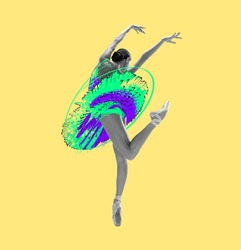 Artwork, zine collage. Young beautiful graceful ballerina in drawn dress, outfit or tutu isolated on yellow background. Illustration, painting. Concept of beauty, grace and calssic ballet art.