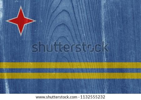aruba flag on vintage wood...