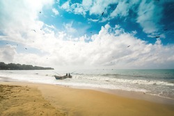 Arugam bay Sri Lanka after the sunrise in the morning. The best place to see sunrise in Sri Lanka is the eastern coastline.