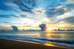 Arugam Bay, Sri Lanka. Sunset over the Indian ocean at Arugam Bay in Sri Lanka with colorful cloudy sky