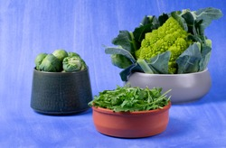 Arugula, romanesco broccoli and brussel sprouts in ceramic bowls against the blue background. Green assorted vegetables